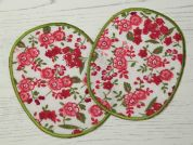 Floral Iron On Oval Patches  Pink