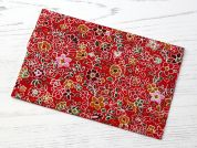 Floral Iron On Repair Fabric  Red