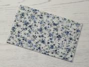 Floral Iron On Repair Fabric  Blue