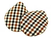 Plaid Check Iron On Oval Patches  Brown