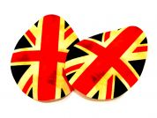 Union Jack Iron On Oval Patches  Red, Navy & Cream