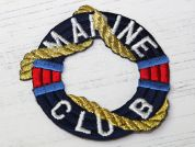 Marine Club Embroidered Iron On Motif Applique  Multicoloured