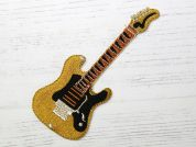 Guitar Embroidered Iron On Motif Applique  Gold
