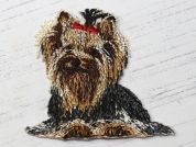 Dog Love Embroidered Iron On Motif Applique  Brown