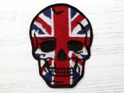 Union Jack Skull Embroidered Iron On Motif Applique  Multicoloured