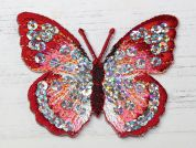 Sequin Butterfly Embroidered Iron On Motif Applique  Red