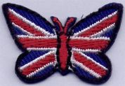 Union Jack Butterfly Patch Motif  Red, White & Blue