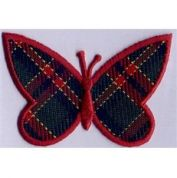 Butterfly Patch Motif  Red & Navy