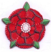 Lancashire Rose Patch Motif  Red