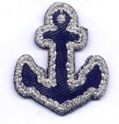 Nautical Anchor Patch Motif  Navy Blue