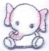 Baby Elephant Patch Motif  Pink