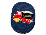 Truck Patch Embroidered Iron On Motif Applique  Red & Blue