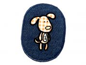 Dog Patch Embroidered Iron On Motif Applique  Beige & Blue