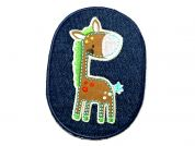 Giraffe Patch Embroidered Iron On Motif Applique  Brown & Blue