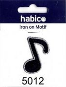 Music Note Patch Motif  Black
