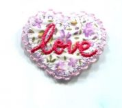 Love Heart Patch Motif  Pink