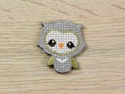 Cross Stitch Owl Embroidered Iron On Motif Applique  Grey & Cream