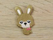 Cross Stitch Rabbit Embroidered Iron On Motif Applique  Beige
