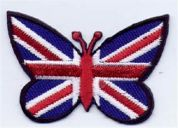 Union Jack Butterfly Patch Motif  Red White Blue