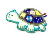 Turtle Embroidered Iron On Motif Applique  Turquoise