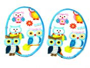 Owls Iron On Oval Patches  Turquoise
