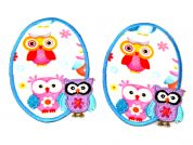 Owls Iron On Oval Patches  Blue & Lilac