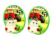 Farmyard Scene & Cow Iron On Oval Patches  Green