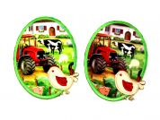 Farmyard Scene & Chick Iron On Oval Patches  Green