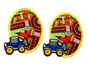 Town Scene & Truck Iron On Oval Patches  Blue