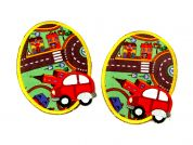 Town Scene & Car Iron On Oval Patches  Red