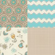 Hint of Turquoise Fat Quarter Fabric Pack