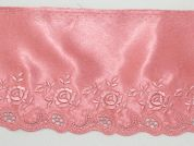 14cm Embroidered Satin Lace Trimming  Dusky Pink