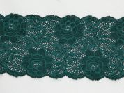 Extra Wide Stretch Nylon Lace Trimming  Deep Jade Green