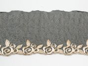 12cm Floral Embroidered Tulle Lace Trimming  Black & Cream