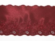 12.5cm Embroidered Satin Lace Trimming  Wine