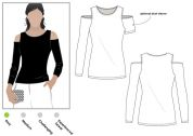 Style Arc Ladies Easy Sewing Pattern Cold Shoulder Knit Top