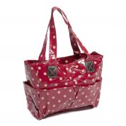 Hobby & Gift PVC Vinyl Craft Bag Storage Spotty Print  Cherry Red