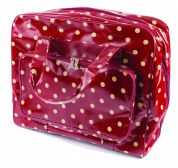 Hobby & Gift PVC Vinyl Sewing Machine Bag Burgundy Spot