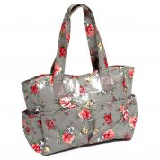 Hobby & Gift PVC Vinyl Craft Bag Storage Floral Print  Grey