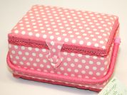Hobby & Gift Polka Dot Print Medium Craft Storage Box  Pink