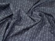 Lady McElroy Stretch Jacquard Fabric  Navy Blue