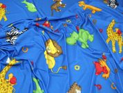 Lady McElroy Animals Jersey Knit Fabric  Blue