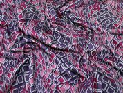 Abstract Ponte Roma Stretch Jersey Knit Dress Fabric  Pink & Purple