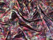 Italian Abstract Print Crisp Polyester Taffeta Dress Fabric  Multicoloured
