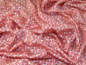 Italian Geometric Print Slinky Satin Dress Fabric  Pink & Orange