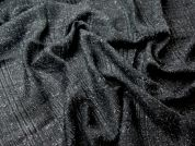 Italian Fine Sequinned Wool & Mohair Blend Dress Fabric  Black Grey