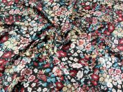 Floral Print Polyester Sateen Dress Fabric  Multicoloured