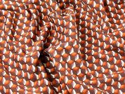 Geometric Print Stretch Suiting Dress Fabric  Burnt Orange
