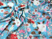 Italian Oriental Floral Print Georgette Dress Fabric  Turquoise