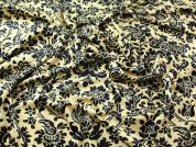 Italian Floral Stretch Velvet Velour Dress Fabric  Black & Gold